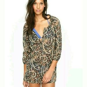 J. Crew Other - J. Crew feather paisley Tunic Beach Cover Up