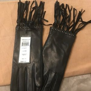 BCBG BLACK LEATHER FRINGE GLOVES