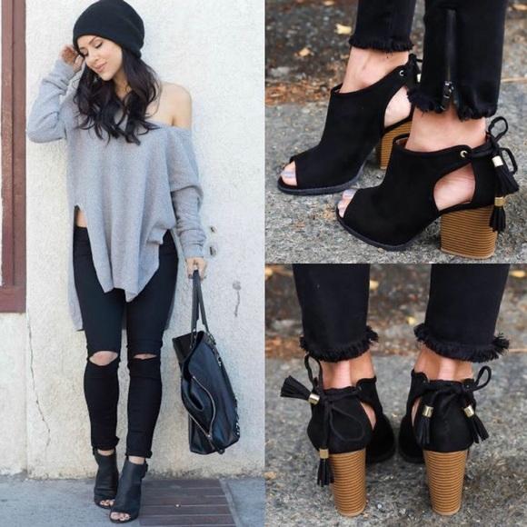 Shoes - 🆕MILA ROSE open bootie- BLACK
