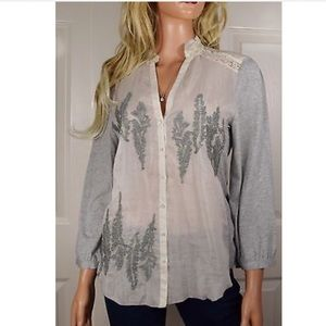 Anthropologie Tops - TINY embroidered silk top nwt Sz large ivory