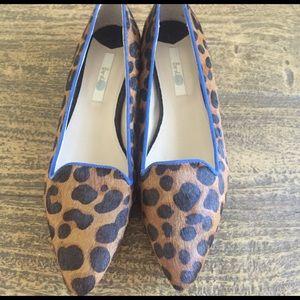 Boden Pony slipper shoe with heel.