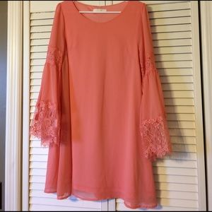 Entro Lace Sleeve Shift Dress