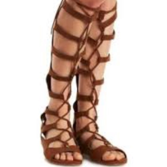 1dd77497e7c Charlotte Russe Shoes - Lace up Knee High Gladiator Sandals Brown