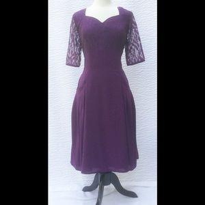 New Eshakti Purple Retro Fit & Flare Dress L 14