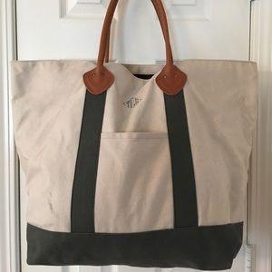 L.L. Bean Handbags - 🛍 L.L. Bean Large Green Tan Leather Trim Tote Bag