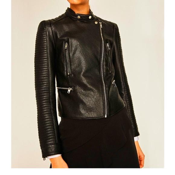3409d99e2 ZARA Black Faux Leather Moto Jacket NWT