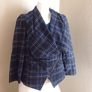 Topshop Jackets & Blazers - Like new navy plaid double breasted Moto jacket