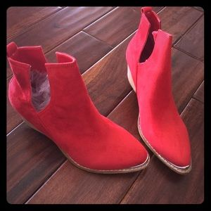 Shoes - Red short boots new!