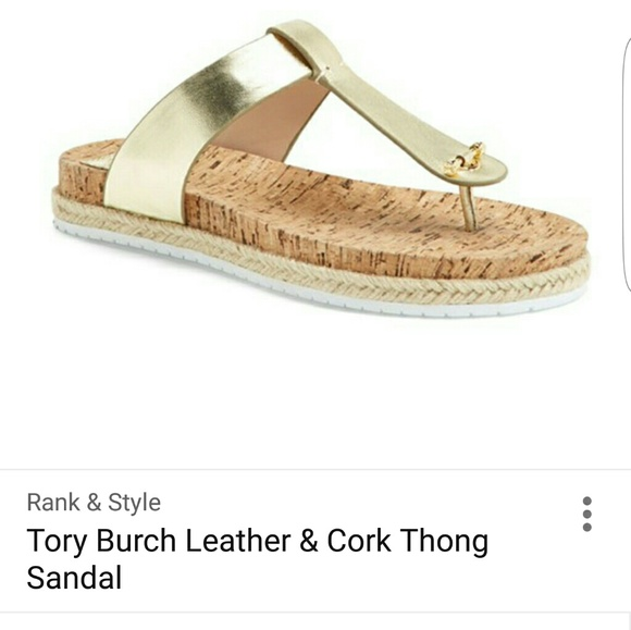 8cb2d57fa2433 Metalic leather   cork tory burch thong sandals.