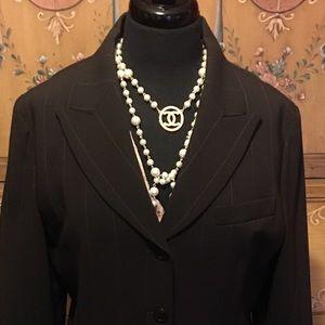 Emanuel Ungaro Tops - Emanuelle Ungaro classic brown pinstripe blazer 10