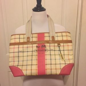 Coach Handbags - Auth RARE Plaid Coach Cream Bag w Pink/Tan Leather