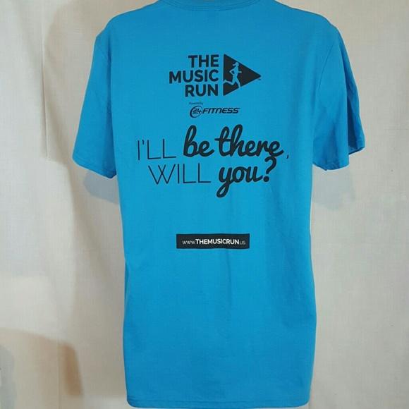 Music run 24 fitness blue large tshirt