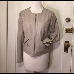 bagatelle Jackets & Blazers - Bagatelle tan faux leather zipper jacket