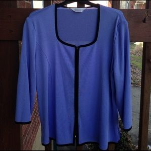 Misook Sweaters - Exclusively Misook Acrylic Blue Cardigan