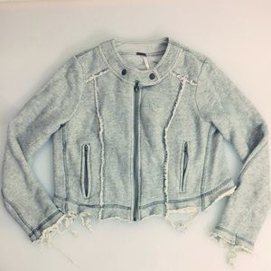 Free People Jackets & Blazers - Free People Destructed Cropped Cotten Moto Jacket
