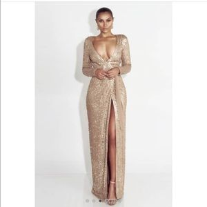 cd0fcc4b JLUX LABEL Dresses - NWT JLUX LABEL GLORY GOLD LONG SLEEVE SEQUIN GOWN