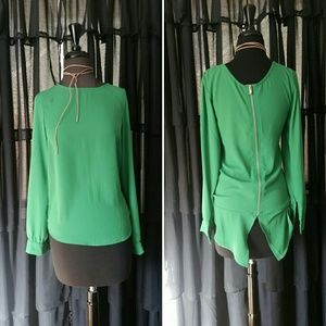sheinside  Tops - High low kelly green blouse with zipper detail