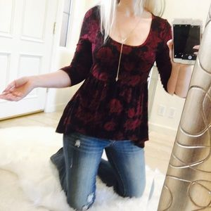 Almost Famous Tops - Ruffle roses top blouse high low shirt burgundy