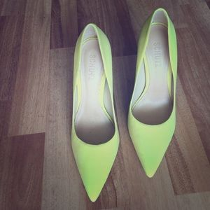Schutz yellow suede pumps