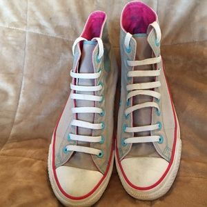 Converse Shoes - Converse grey, pink and Teal high tops. 💙💕💙