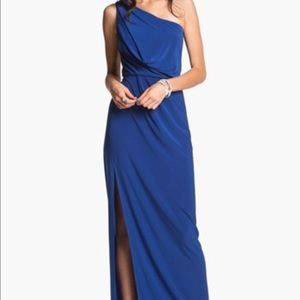 Hailey By Adrianna Papell Blue One Shoulder Dress