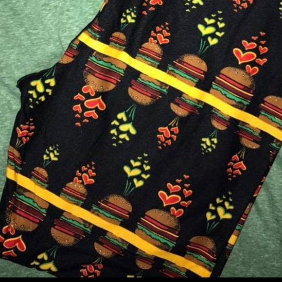 Lularoe Pants Leggings Cheeseburgers And Hearts Poshmark