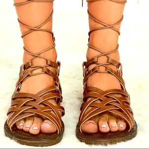 5d1141186ea MIA Shoes - MIA Heritage Brown Leather Lenora Gladiator Sandal