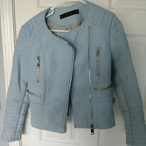 Zara sky blue faux leather moto jacket