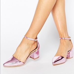 ASOS Shoes - ASOS Pink Ankle Strap Block Heels