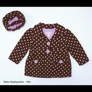 Baby Headquarters Other - Baby Headquarters Polka Dot Coat/Hat - 18m