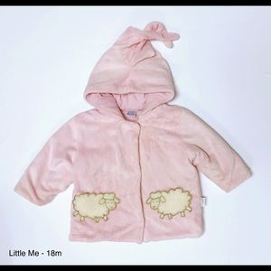 Little Me Other - Little Me Pink Fuzzy Sheep Hooded Coat - 18m