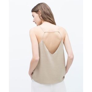 Zara Tops - Zara Beige Cross Back Cami Tank Top SMALL