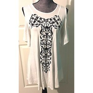 Cold Shoulder Bling Shirt Rhinestone White Black