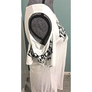 Vocal Tops - Cold Shoulder Bling Shirt Rhinestone White Black