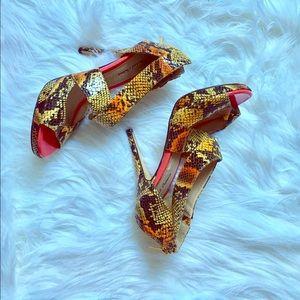 Michael Antonio Shoes - Michael Antonio Colorful Strappy Snake Skin Heels