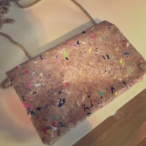 Cork Clutch Purse w/ Paint splatter detail