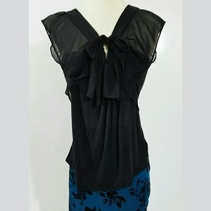 Anthropologie Deletta Black Top Size S