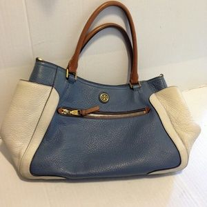 Tory Burch Frances Blue White Color Block Satchel