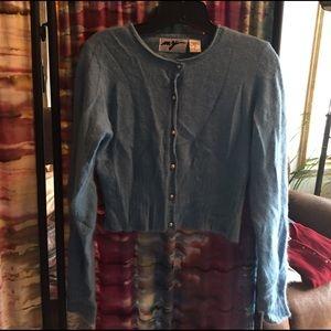 Baby blue angora sweater. Size medium