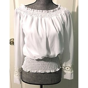XOXO Tops - White Peasant Blouse XS Semi Sheer Lace Sleeve