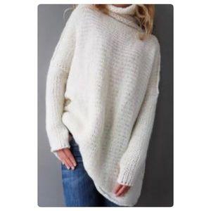 Cream Oversized Long Tunic Lightweight Sweater