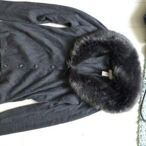 Banana Republic Grey Faux Fur Cardigan women's