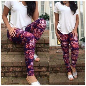 Bchic Pants - Mosaic Print Brushed Ankle Leggings