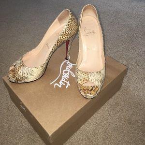 Christian Louboutin Shoes - ⚡️Flash SALE⚡️Louboutin Snakeskin Peep-Toe Heels