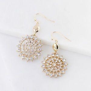 Jewelry - 💕HOST PICK💕Circle Rhinestone Dangle Earrings