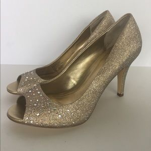 Style & Co Shoes - Style & Co. glittery gold gem heels