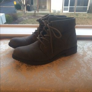White Mountaineering Shoes - Grey Ankle Combat Boots
