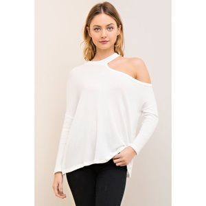 likeNarly Tops - 🆕All I Half One Cold Shoulder Top - White