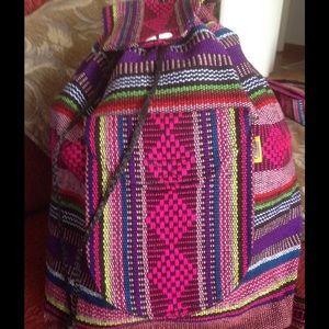 BohoMoho Handbags - Aztec design boho loomed backpack
