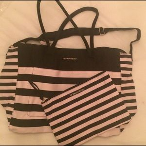 NWT Victoria's Secret Striped Weekender & Pouch